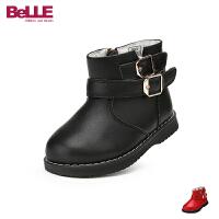百丽Belle童鞋18冬季新款丝滑绒毛保暖靴子简约方扣幼童靴圆头防滑舒适皮靴(0-4岁可选)DE5974