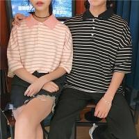 情侣装夏季新款条纹创意咪图案宽松POLO衫短袖T恤学生半袖衫男