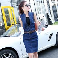 2018夏季新款中长款无袖大码牛仔连衣裙女气质OL收腰显瘦一步裙潮 深蓝色 送腰带和黑色吊带