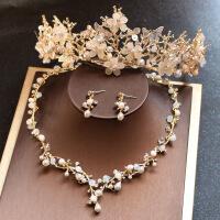 欧式金色森系串珠皇冠公主圆冠新娘头饰品结婚纱配饰项链耳环