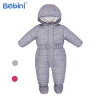 比比昵Bebini秋冬婴儿夹棉包脚连体衣 加厚新生儿保暖爬服宝宝棉衣新款