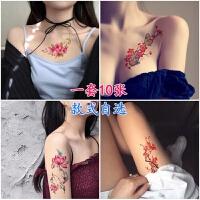 新款纹身贴防水女3D蝴蝶花朵玫瑰花牡丹莲花花臂遮疤痕纹身贴花