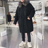 冬季新款宽松棉服韩版大毛领连帽加厚棉衣潮男中长款袄子