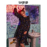 【5折价129.5】Lagogo/拉谷谷2018秋季新款优雅印花连衣裙HCLL408A39