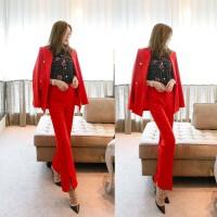 2018帅气新款修身时尚套装女士红色休闲小西装外套开叉长裤两件套 红色