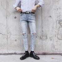新款秋冬款韩版修身小脚牛仔裤男潮流时尚个性刀割破洞做旧小脚乞