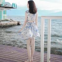 夏季新款女装短款裙子圆领无袖雪纺连衣裙波西米亚海边度假沙滩裙 图片色 XZA273
