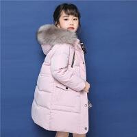 2018冬季新款拉夏贝尔女童中长款羽绒服宝宝外套保暖加厚韩版洋气