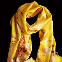 桑蚕丝丝巾外事礼品 梅花围巾 工艺品围巾中国风出国送老外礼品 母节送女友礼物