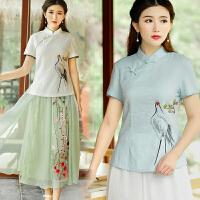 中国风衬衫女修身显瘦短袖女装复古手绘仙鹤唐装旗袍中式棉麻上衣