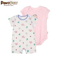 【2件2.5折 到手价:100】Pawinpaw卡通小熊童装夏款男女宝宝连身服婴幼儿2件套连身衣
