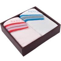 三利 礼品毛巾 彩色缎档 精致高级礼盒两条装 赠手提袋 米兰风情
