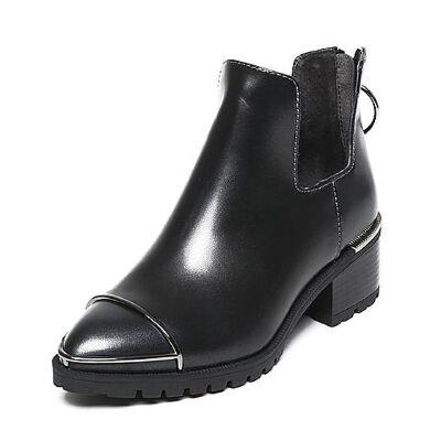 Belle/百丽冬专柜同款擦色牛皮女短靴BLP44DD6