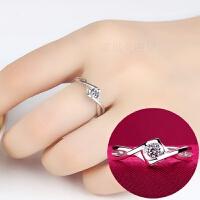 S925银戒指女款日韩情侣仿真钻戒结婚渡白金银戒子饰品开口对戒