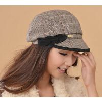 冬季羊毛短檐棒球帽潮女帽休闲时装帽女士时尚鸭舌帽