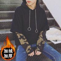 港风秋冬季男士连帽卫衣原宿韩版bf风学生迷彩宽松套头假两件外套
