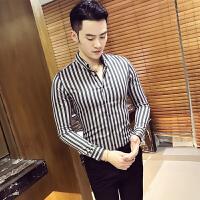 新款18秋季男士韩版修身竖条纹免烫长袖衬衫潮流青年男式休闲衬衣