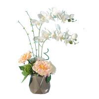 幸福向你飞来蝴蝶兰玫瑰茶花仿真花成品客厅摆放假花绢花装饰花艺SN0050