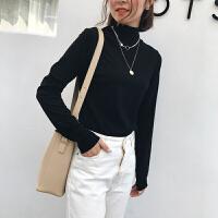 半高领加厚打底衫女秋冬季新款纯色港味chic紧身上衣内搭长袖T恤