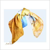 蒙马特大街春夏新款桑蚕丝真丝缎面50小方巾梵高油画美好的时光