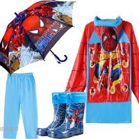 蜘蛛侠学生儿童雨衣雨鞋套装雨具男童宝宝保暖雨靴中大童雨披雨伞 X