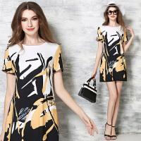 欧美高端新款中年女装夏装印花修身品牌大码连衣裙夏款
