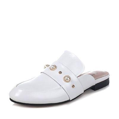 JoyPeace真美诗春季专柜同款牛皮珍珠饰女后空凉鞋英伦穆勒鞋72110AH7