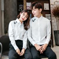 情侣装春秋新款网咖咖啡厅主题餐厅工作服可定制主题印制衬衫