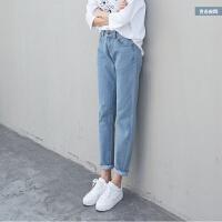 慈姑ulzzang高腰卷边直筒牛仔裤子女新款韩版百搭学生宽松显瘦长裤潮 2X