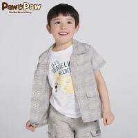 【1件6折 3件4.5折到手价:206】Pawinpaw卡通小熊童装秋男童格子衬衫中大童帅气短袖上衣
