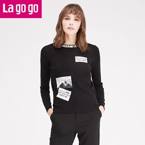 拉谷谷lagogo冬季新款女装毛衣套头秋冬长袖短款针织衫