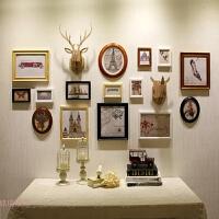美式复古实木照片墙相框墙鹿犀牛挂墙装饰客厅餐厅创意家居
