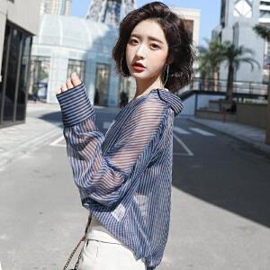 安妮纯条纹V领衬衫女2019春装新款宽松长袖衬衣韩范夏季雪纺小心机上衣防晒衫