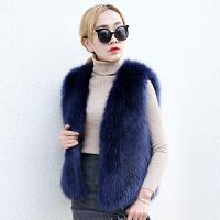 冬天仿狐狸毛皮草马甲女士短款2018新款冬季韩版加厚毛毛背心外套