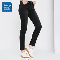 [秒杀价:63.9元,新年不打烊,仅限1.22-31]真维斯女装2019秋装新款 时尚弹力混纺雨纹修身牛仔裤