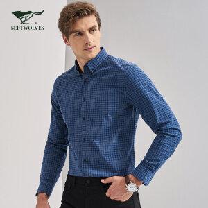 七匹狼衬衫 秋季新品 中青年男士时尚休闲百搭纯棉格子长袖衬衫