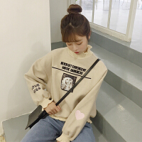 秋冬女装韩版宽松高领爱心字母刺绣加厚毛呢套头卫衣学生外套上衣