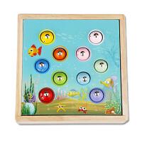 幼儿童钓鱼玩具套装一岁半宝宝1-2-3周岁早教男女孩木质