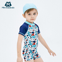 【2件4折】迷你巴拉巴拉男童连体短袖泳衣男宝宝泳衣夏季新款印花连体泳衣