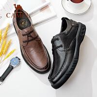 骆驼男鞋2019新款真皮商务休闲皮鞋男轻便舒适系带软底舒适爸爸鞋