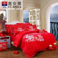 【限时秒杀】富安娜家纺 大红婚庆提绣床上用品六件套 纯棉提花双人适用床单被罩