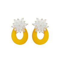 夏季黄色耳环女韩国气质个性百搭新款耳坠度假耳钉耳饰品