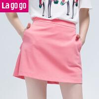 【5折价64.5】Lagogo/拉谷谷2017夏季新款直筒纯色高腰半裙