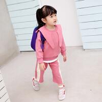 女童卫衣套装2018春装新款 儿童韩版幼儿园休闲运动套装潮