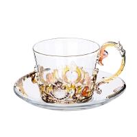 珐琅彩咖啡杯欧式茶杯套装创意水杯子玻璃杯带碟带勺女神生日礼物