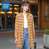 真维斯女装 秋季新品 全棉法兰绒色织格仔布长袖衬衫