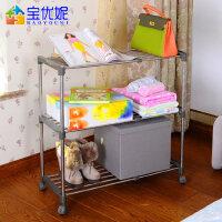 宝优妮 简易鞋柜 室内置物架 可移动杂物架伸缩组合多层不锈钢鞋架
