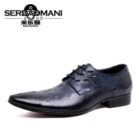 米乐猴 潮牌新品头层皮时装男鞋鳄鱼纹尊贵男士皮鞋英伦透气青年尖头单鞋男鞋
