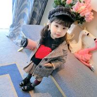 冬季女童长袖上衣儿童春秋韩版外套女宝宝中长款格子西装洋气童装潮衣秋冬新款 格子
