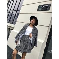 秋装秋装韩版时尚千鸟格毛呢小香风西装外套+半裙